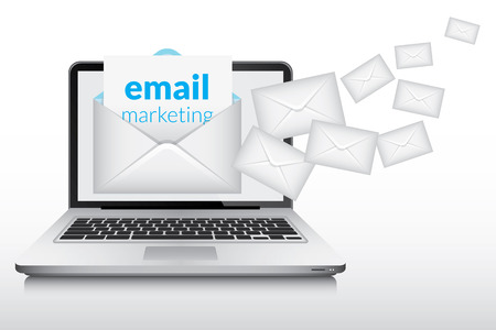 Email marketing and many envelopes in laptop computer screen Vectores