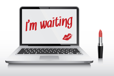 ultrabook: Girl who is waiting for husband wrote note on laptop screen, vector