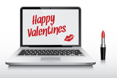 ultrabook: Happy Valentines with kiss in laptop computer screen