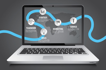 laptop screen: Laptop screen over timeline business infographic, vector