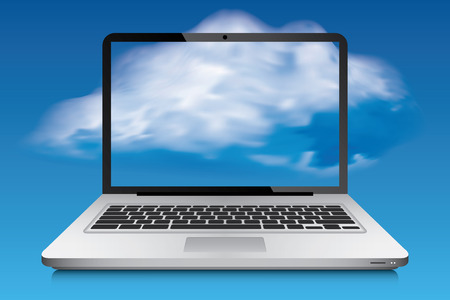 Laptop with cloud and sky in background, vector Illustration