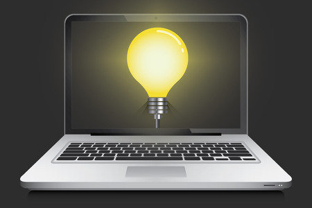 ultrabook: Laptop with idea light bulb in screen, vector