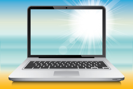 ultrabook: Laptop with summer landscape in background, vector