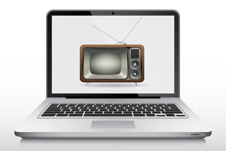 laptop screen: Old tv in modern laptop screen, vector Illustration