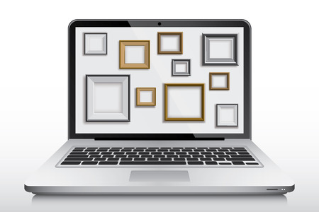 laptop screen: Set of frames in laptop screen as a wallpaper, vector Illustration