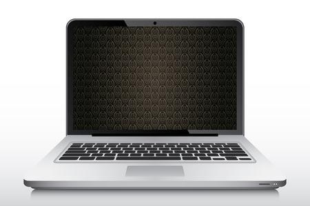 laptop screen: Papel pintado marr�n de la vendimia en la pantalla del port�til vector