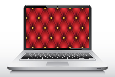 ultrabook: Vintage red quilt wallpaper in laptop screen vector Illustration