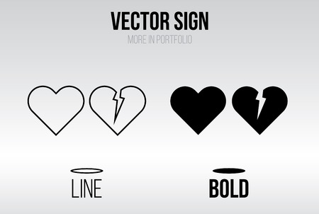 broken: Linear icon vector set, line and bold style