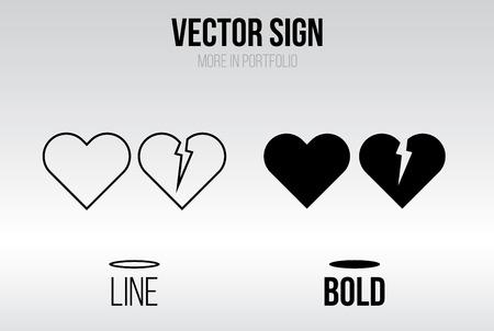 corazon roto: Vector icono conjunto lineal, la línea y el estilo negrita