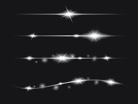 light effect: Set of Vector glowing light effect stars bursts with sparkles