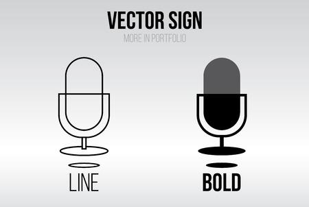 voice recorder: Linear icon vector set, line and bold style