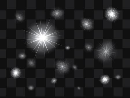 Conjunto de vector de brillante efecto de luz estrellas con destellos en el fondo transparente
