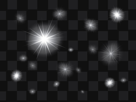 Set of vector glowing light effect stars with sparkles on transparent background Çizim