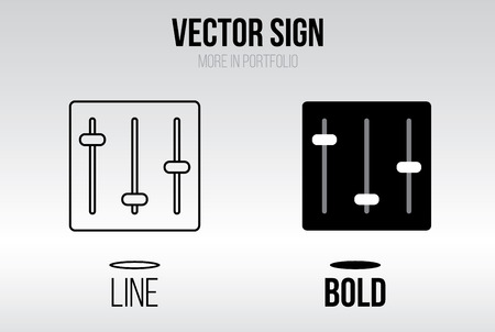 equalizer sliders: Linear icon vector set, line and bold style