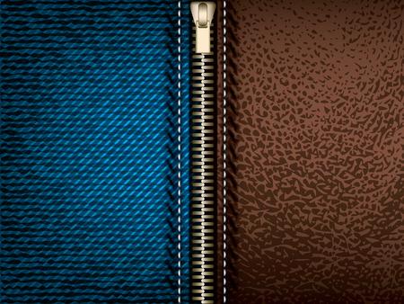 denim jeans: Pantalones de mezclilla y cuero marr�n con cierre de cremallera, vector