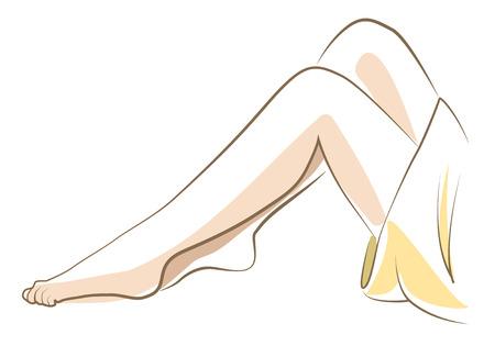 Woman legs sketch, drawn in vector lines Ilustração