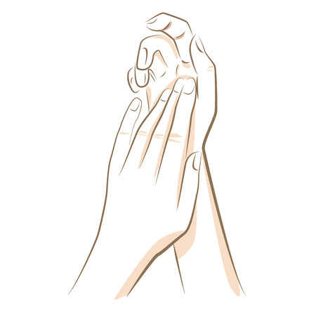 Close up woman hands, drawn in vector lines
