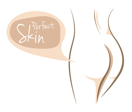 Perfect skin woman body, vector line sketch