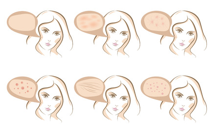 skin infections: Woman face concept of anti aging procedures on skin, vector sketches set