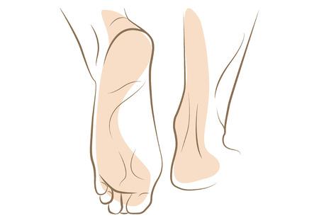 piedi nudi di bambine: Donna piede schizzo, disegnato in linee vettoriali
