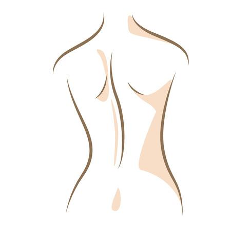 Close-up vrouw terug, getekend in vector lijnen