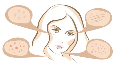 pimples: Woman face concept of anti aging procedures on skin, vector line sketch Illustration