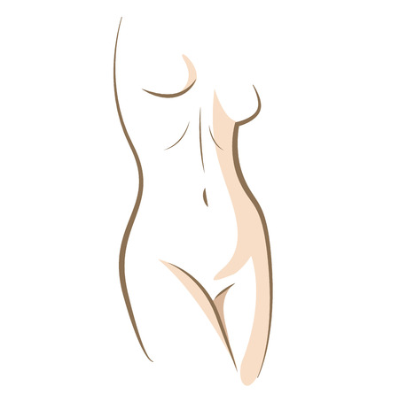 Close up woman body, drawn in vector lines Ilustração
