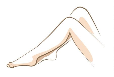 女性の足、ベクトル線の描画を終了します。  イラスト・ベクター素材