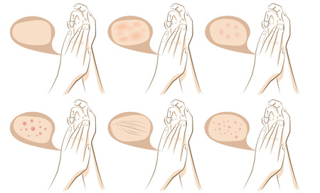 Woman hands concept of anti aging procedures on skin, vector sketches set