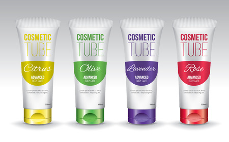 Cosmetic tubes template design, vector objects