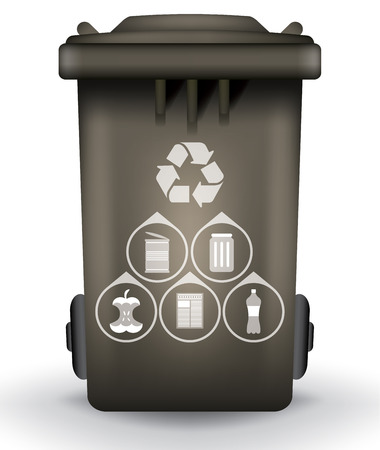 segregate: Recycle trash bin with garbage icons, vector illustration