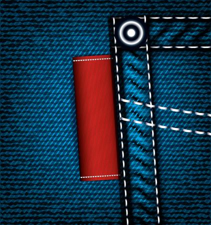 denim jeans: Denim jeans pocket with label, vector part of clothes