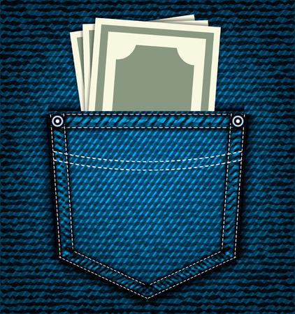 back pocket: Denim jeans pocket with money, vector part of clothes Illustration