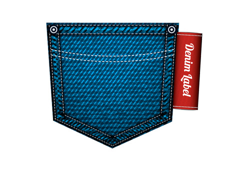 jeans pocket: Denim jeans pocket with label, vector isolated on white Illustration