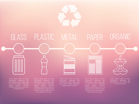 utilize: Recycle infographic with garbage icons, vector trash concept