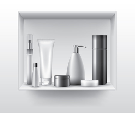 medical shower: Blank cosmetic tubes on bathroom shelf, vector objects