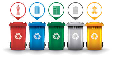 recycle symbol: Colorful recycle trash bins with garbage icons, vector set