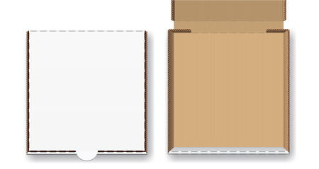 Closed and open pizza box, vector illustration set