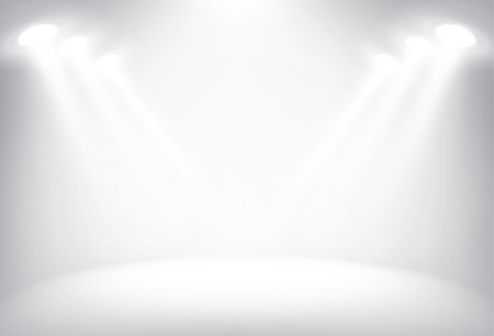 Illuminated stage with scenic lights, vector background