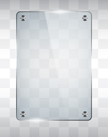 Empty glass frame, transparent vector