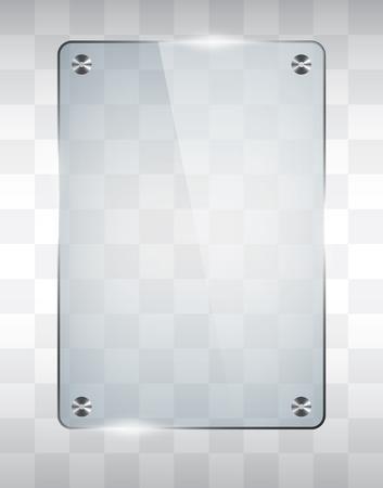 Empty glass frame, transparent vector