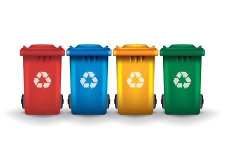 basura organica: Coloridos contenedores de basura de reciclaje aisladas blanco, conjunto de vectores