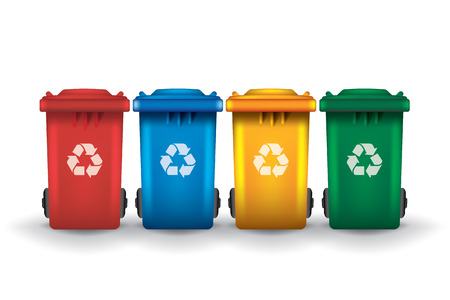 Colorful recycle trash bins isolated white, vector set
