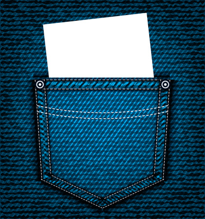 jeans pocket: Denim jeans pocket with blank piece of paper, vector part of clothes