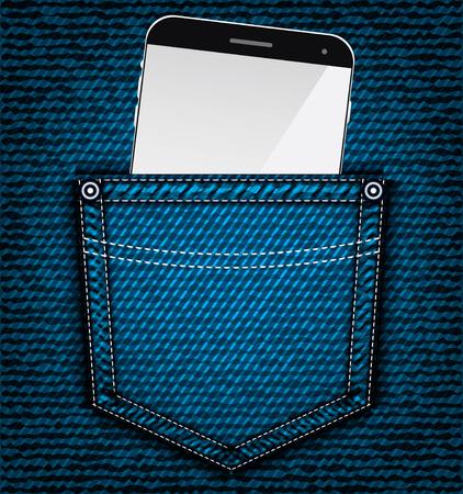 denim jeans: Denim bolsillo de los vaqueros con el tel�fono m�vil, vector parte de la ropa Vectores