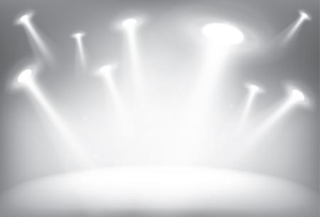 illuminated: Illuminated stage with scenic lights, vector background