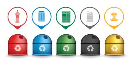 Recyclen afval containers met vuilnis pictogrammen, vector set Stockfoto - 42062012