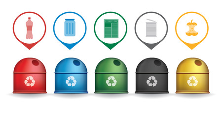 Recycle trash containers with garbage icons, vector set