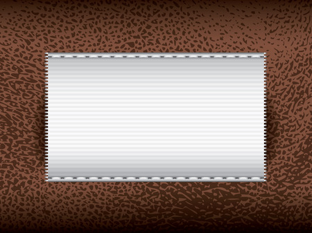cowhide: Brown leather with label, vector part of clothes Illustration