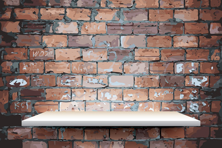 white shelf: Empty white shelf on brick wall, vector Illustration